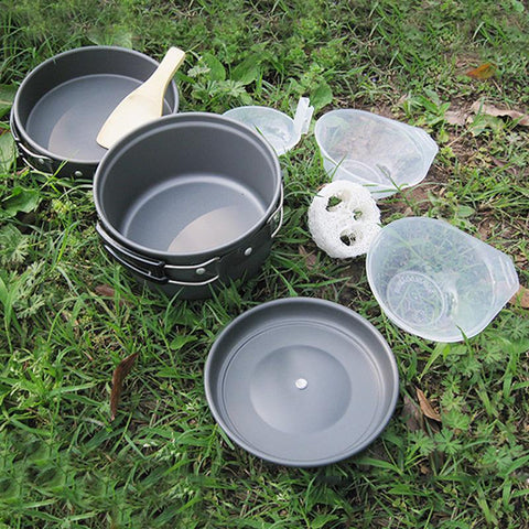 Outdoor Camping Picnic Aluminum Alloy Tableware Cookware Pots Frying Pan Bowl Set | Edlpe