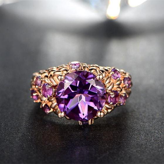 Retro Square Multicolor Fashion Jewelry Crystal Purple Rings Engagement Ring | Edlpe