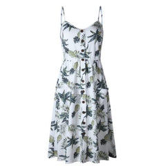 Womens Holiday Sleeveless Dress Summer Floral Strappy Party Sundress