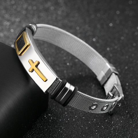 Women Mens Stainless Steel Bracelet Cross Black Silver Adjustable Bracelet Fashion Jewelry | Edlpe