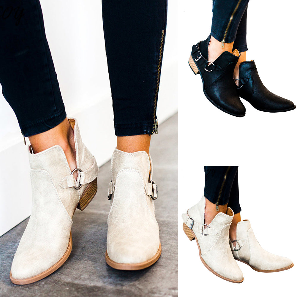 Summer Autumn Women Fashion Leather Buckle Ankle Boots Cut-Out Low Chunky Heel Casual Shoes | Edlpe