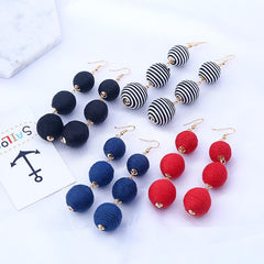 Disposable Waterproof Wax Line Earrings Manual Winding Ball Tassel Stud