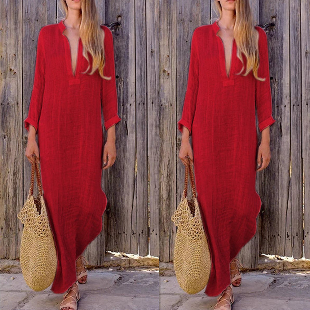 Womens Plain Long Sleeve Long Maxi Dress Baggy Cotton Linen Kaftan Dress | Edlpe