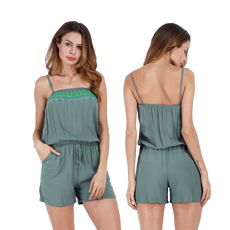Summer Women Beach Casual Sleeveless Strappy Short Jumpsuit Rompers Plus Size | Edlpe