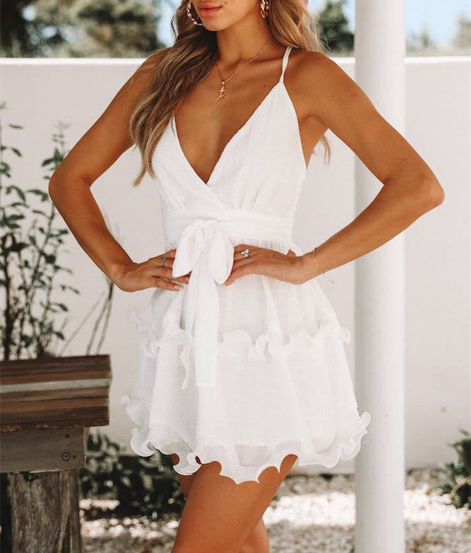 Women Sexy Deep V Backless Ruffle Mini Swing Dress Summer Evening Party Club Slip Dress | Edlpe