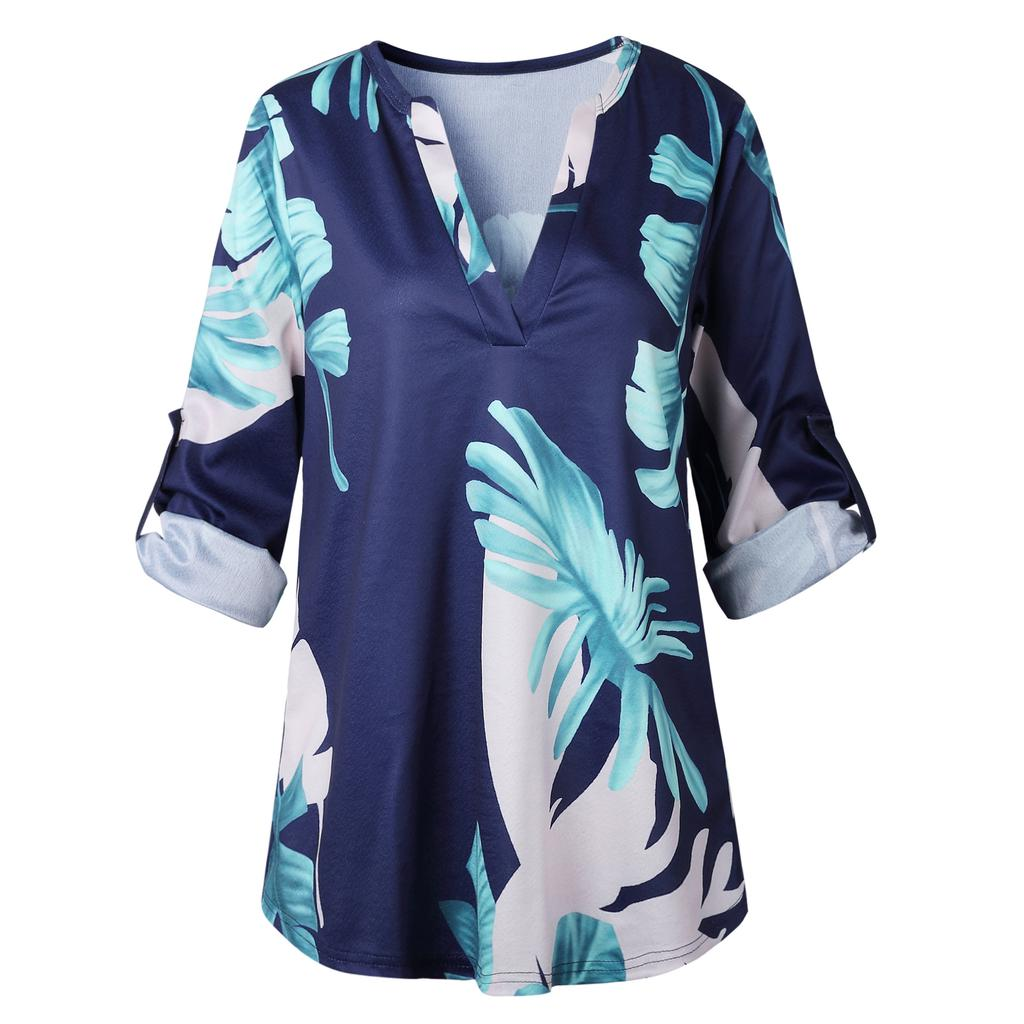 Womens Rolled Sleeve Blouses Ladies Summer Casual V Neck Loose Tops T Shirts | Edlpe