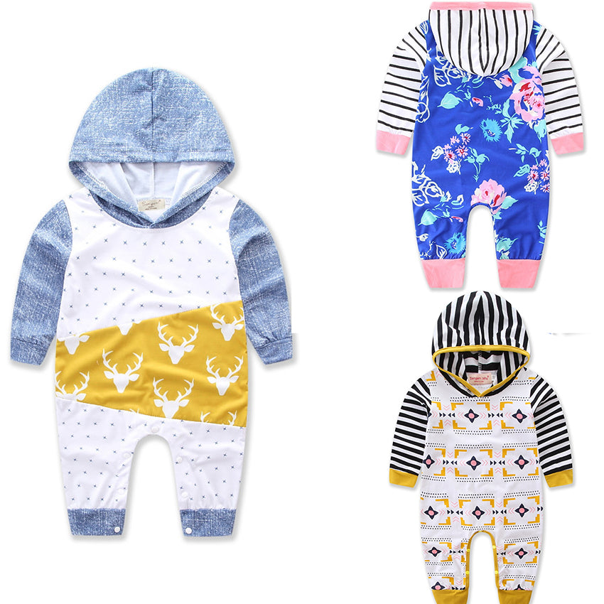 Toddler Kid Baby Girls Boys Warm Infant Long Sleeve Hooded Romper Bodysuit Jumpsuit Outfits Clothes | Edlpe