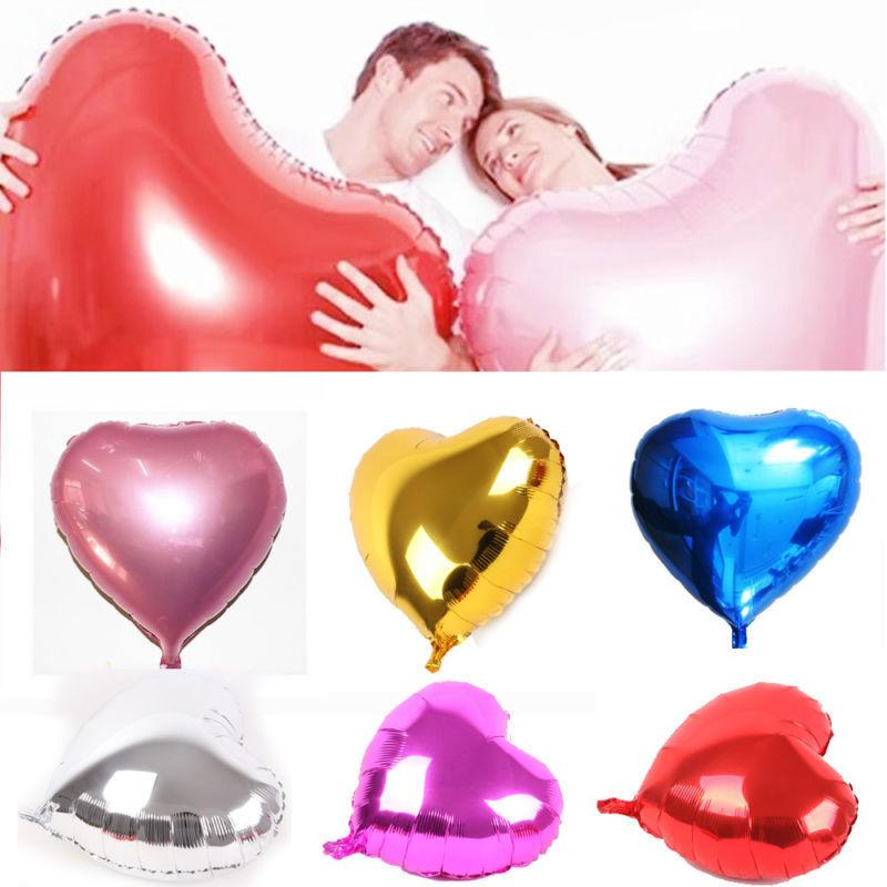 10/18/32 Inch Large Heart Helium Or Air Foil Balloons Festival Party Romantic Decor | Edlpe