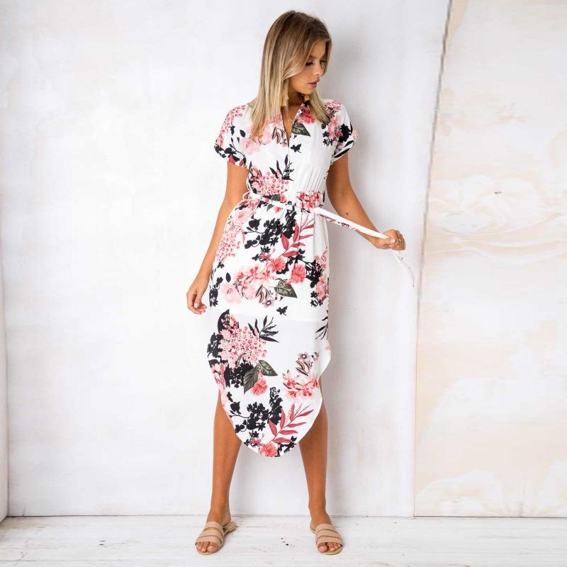 Womens V Neck Mid Dress Floral Summer Short Sleeve Evening Party Shift Dress | Edlpe