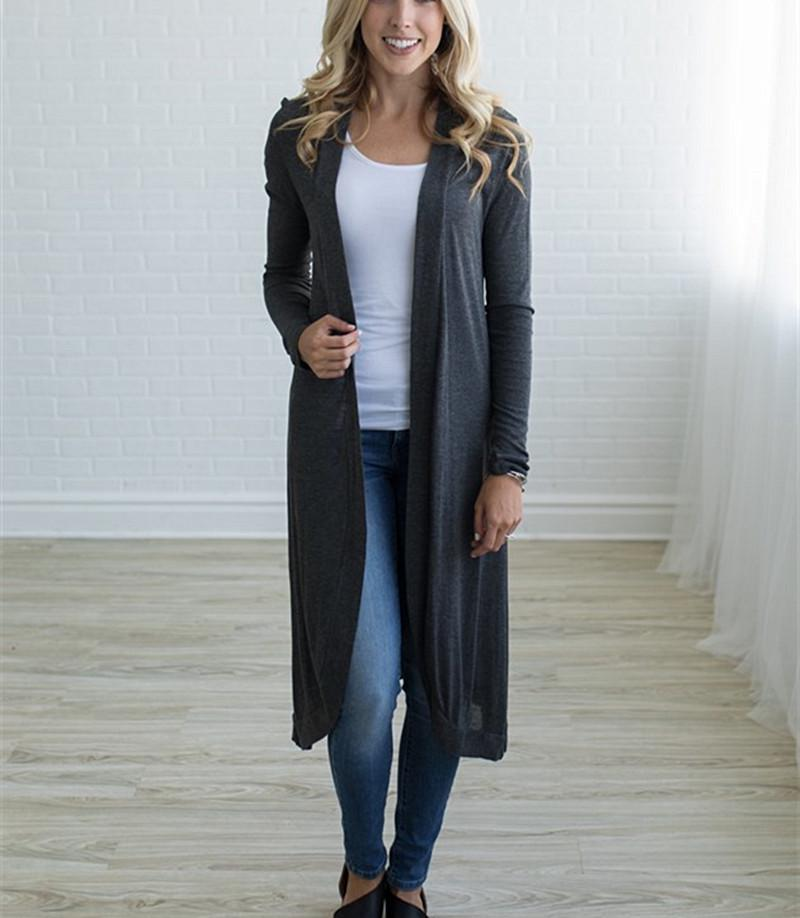 Women Knitted Longline Sweater Casual Long Sleeve Cardigan Jacket Tops Jumpers | Edlpe