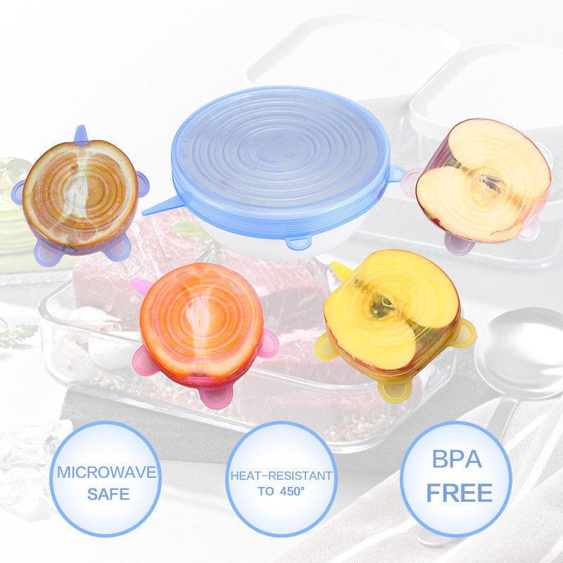 6Pcs Reusable Multi-Purpose Convenient Seal Cover Kit Stretchable Silicone Lids Cover Food Kitchen | Edlpe