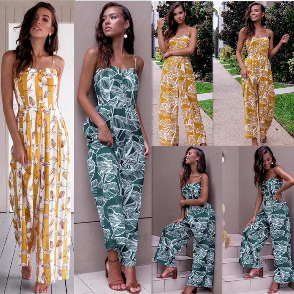 Women Summer Strappy Jumpsuits Ladies Summer Holiday Long Playsuit Loose Trouser | Edlpe
