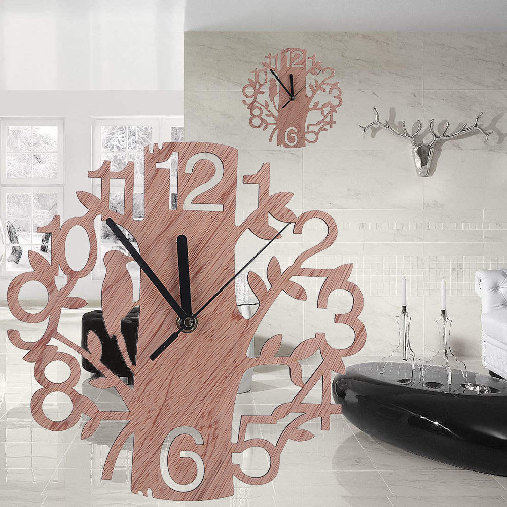 Wooden Wall Clock Artistic Big Tree Shape Wall Watches Living Room Home Office Decor Gift | Edlpe