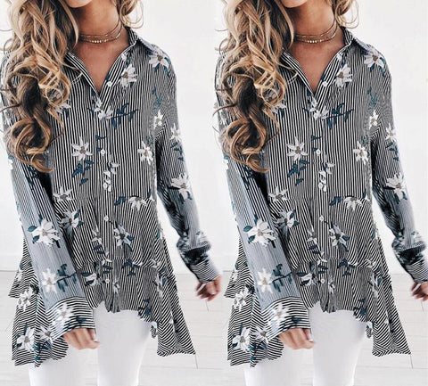 Womens Long Sleeve Swing Tunic Floral Striped Flare Tank Top Casual Blouse Shirt | Edlpe