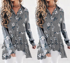Womens Long Sleeve Swing Tunic Floral Striped Flare Tank Top Casual Blouse Shirt