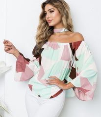 Women Off-shoulder Floral  Printed T-shirt Choker Top Summer Flare Sleeve Bardot Blouse Tops