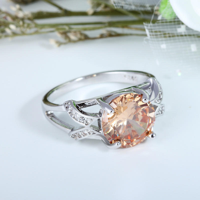 Champagne Color Fashion Jewelry Engagement Wedding Bridal Ring | Edlpe