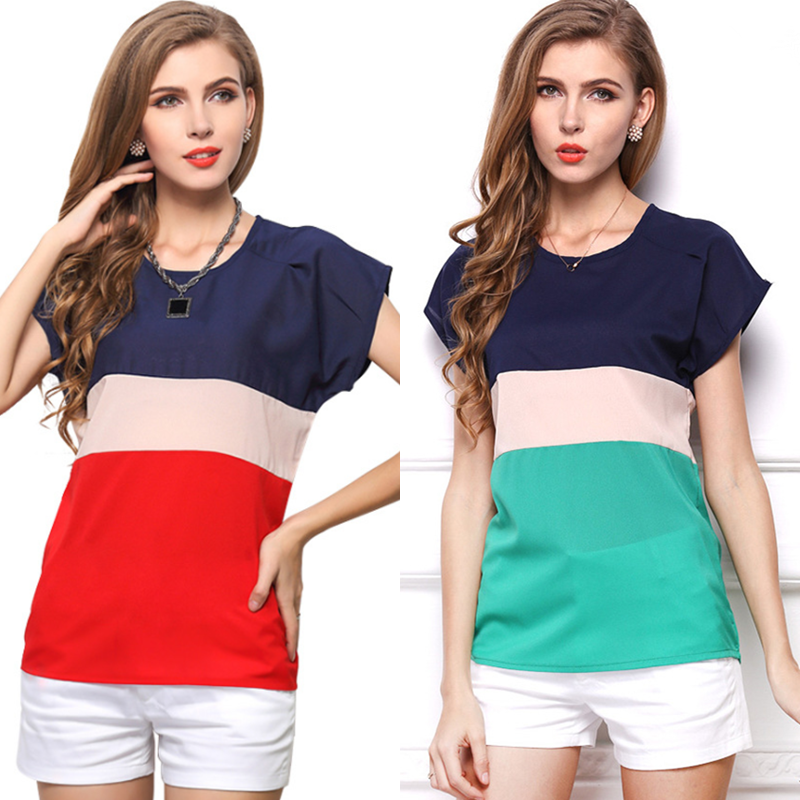 S-3Xl Women Short Sleeve Round Neck Striped Tops Blouse Chiffon Shrit Plus Size | Edlpe