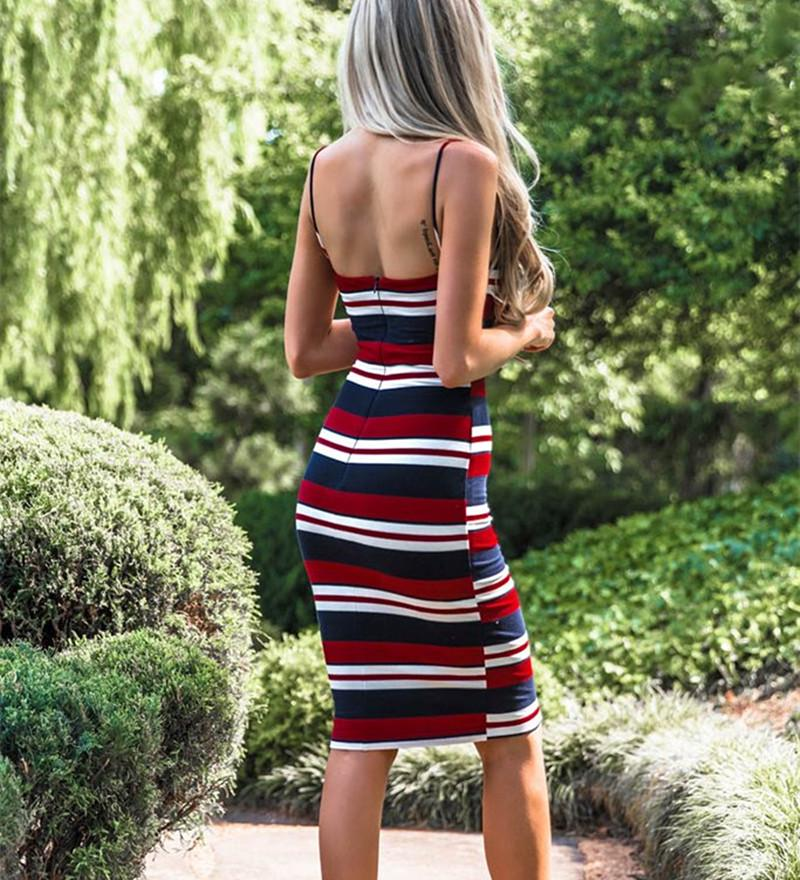 Sexy Women Strappy Backless Striped Bodycon Dress Holiday Summer Midi Sundress | Edlpe