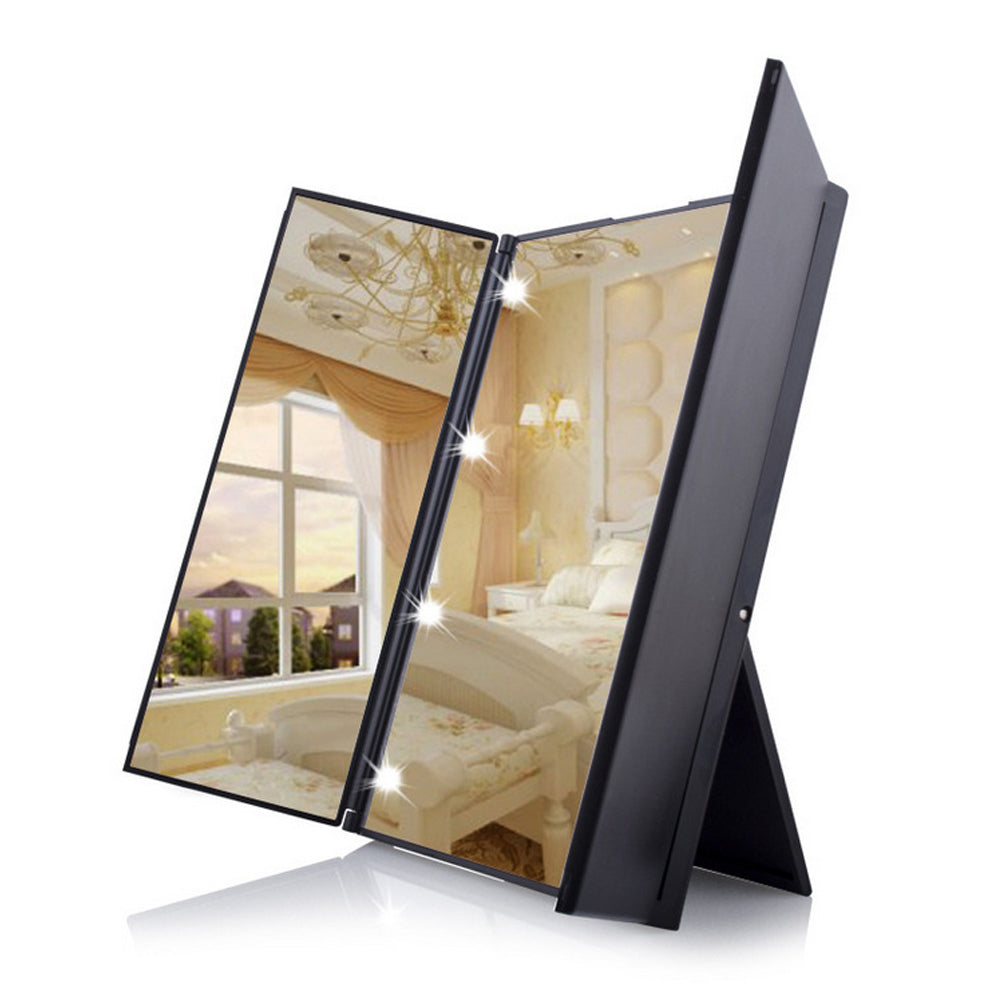 Led Lighted Vanity Mirror Make Up Tri-Fold 8 Led Lights Touch Screen Stand | Edlpe