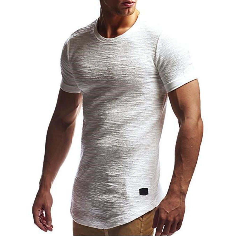 Mens Slim Fit O Neck Short Sleeve Muscle Tee T-Shirt Casual Solid Tops Blouse | Edlpe