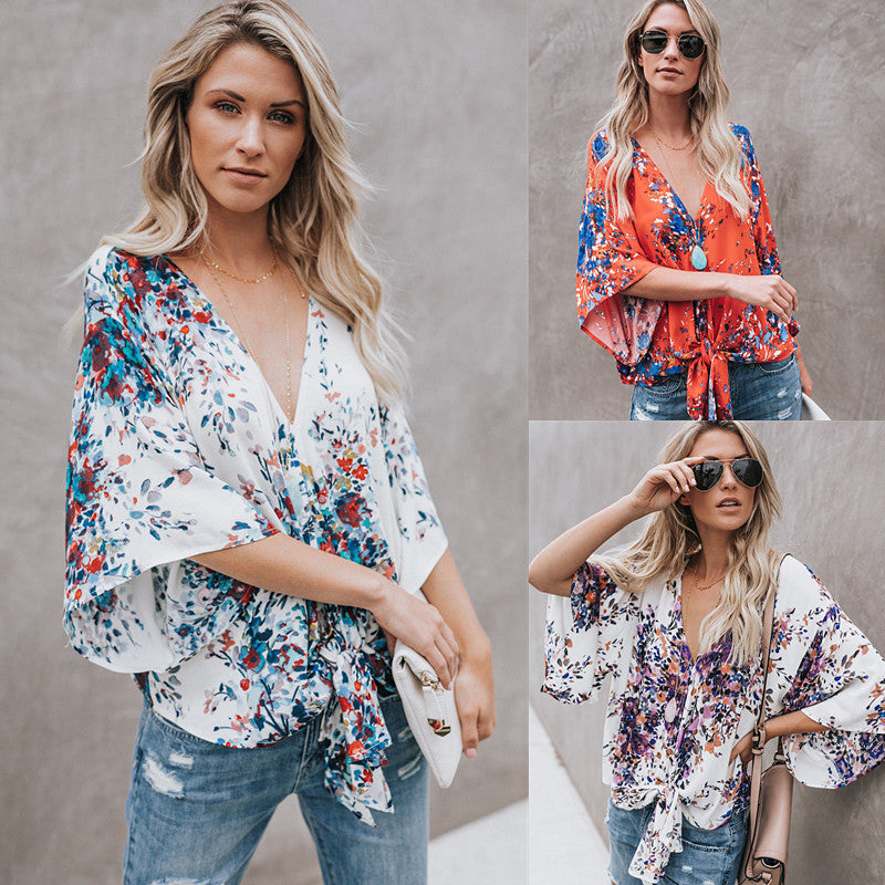Womens Summer Floral Bell Sleeve Loose V-Neck T Shirt Knot Tie Front Casual Tops Blouse | Edlpe