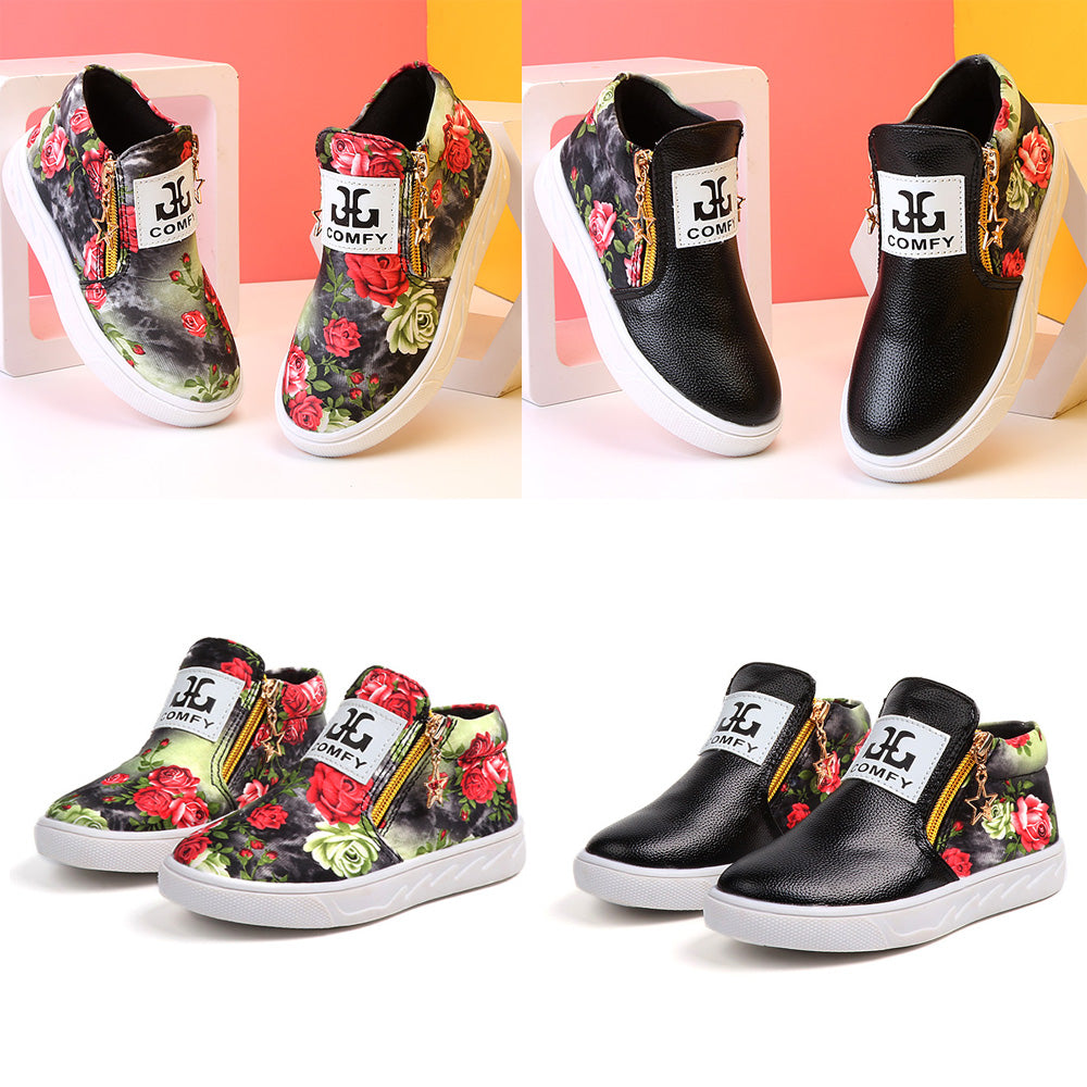 Fashion Grils Kids Floral Casual Zipper Ankle Boots Pu Leather Flat Pumps Shoes | Edlpe