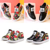 Image of Fashion Grils Kids Floral Casual Zipper Ankle Boots Pu Leather Flat Pumps Shoes | Edlpe