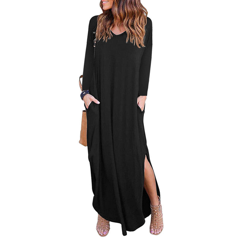 Women Pocket Maxi Dress Ladies Split Loose Summer Long Beach Dress | Edlpe