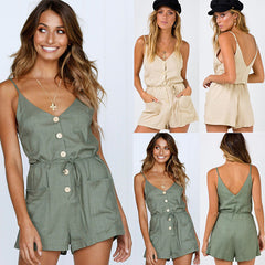 Women Summer V Neck Strappy Jumpsuit Playsuit Ladies Button Pocket Casual Romper | Edlpe