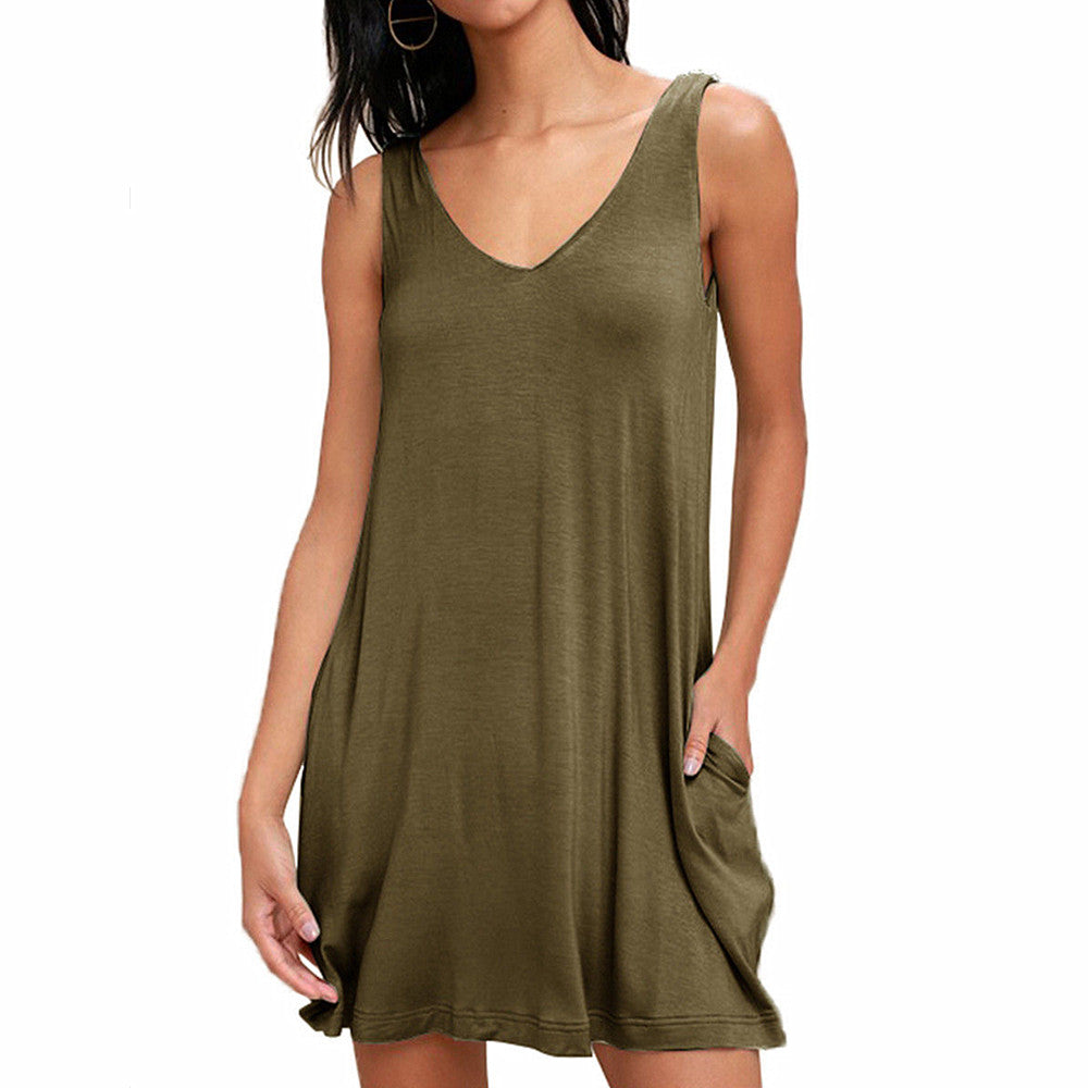 Women Summer Sleeveless V Neck Pocket Short Mini Dress Loose Casual Long Tops | Edlpe