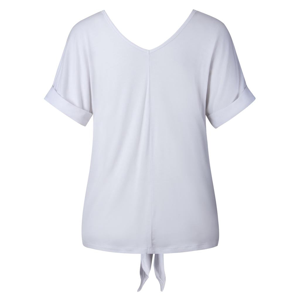 Summer Women Fashion V Neck Short Sleeve T Shirt Lace Up Solid Color Tops Daily Wear | Edlpe