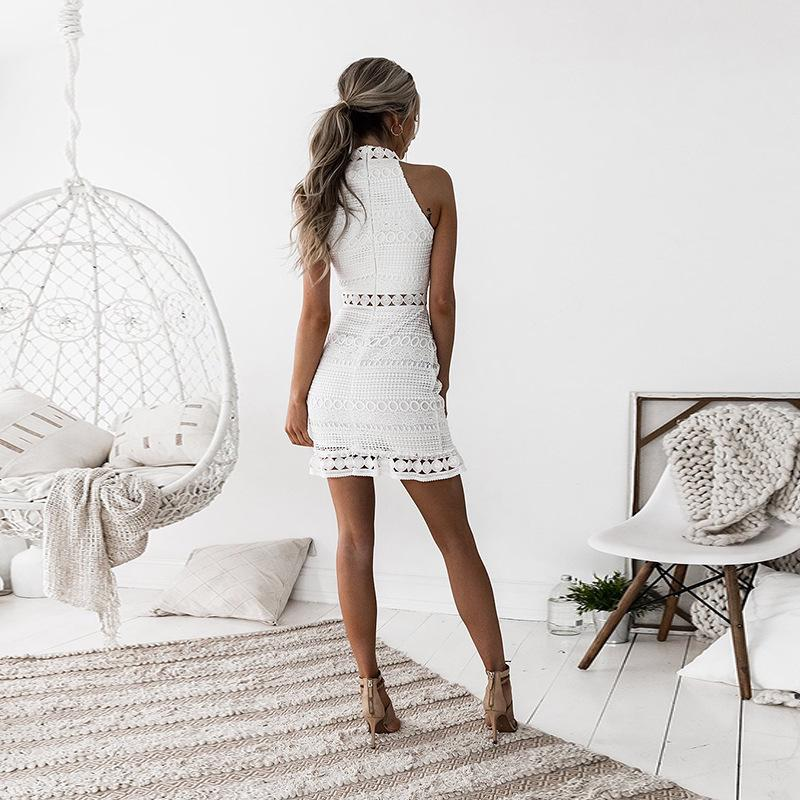 Women Lace Sleeveless Halter Neck Evening Party Cocktail Mini Short Bodycon White Dress | Edlpe