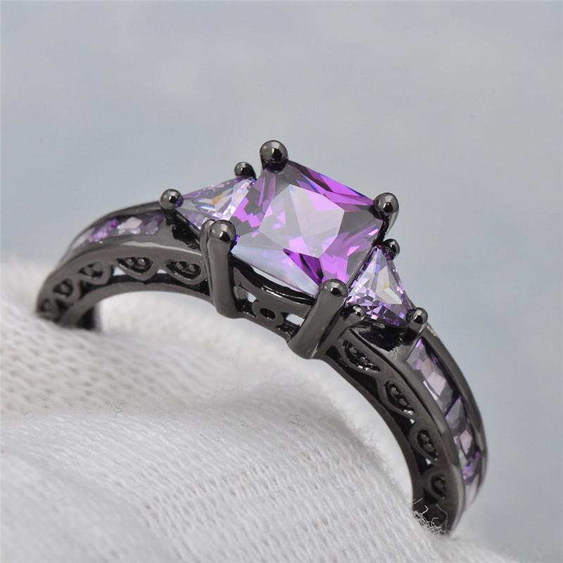 Large Clear Zircon Black Gun Plated Band Rings For Women Female Wedding Party Gift | Edlpe
