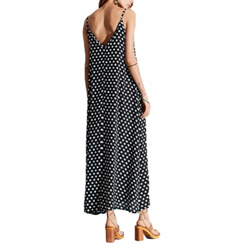 Womens Loose Maxi Dress Sling Polka Dot Pocket V-Neck Summer Casual Long Dress Plus Size S-5Xl | Edlpe