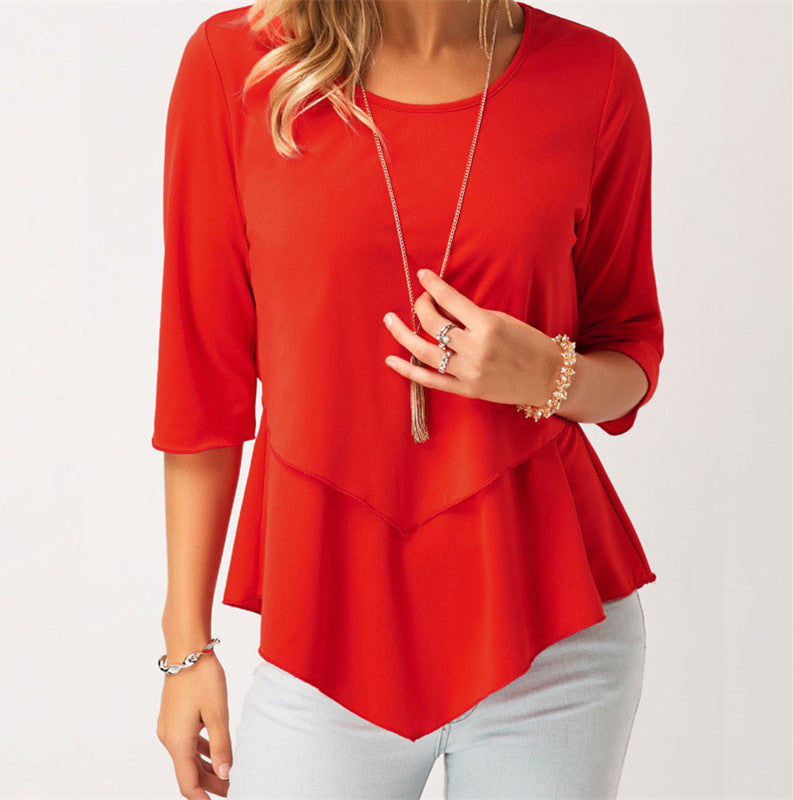 Women 3/4 Sleeve Round Neck Ruffle Casual Chiffon Blouse Tops | Edlpe