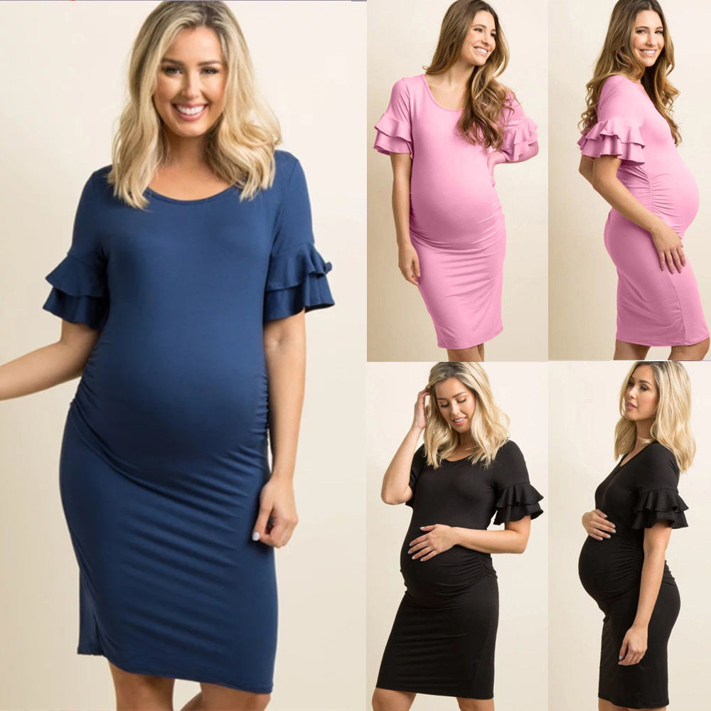 Womens Pregnancy Maternity Flared Sleeve Gown Stretch Bodycon Party Mini Dress Photography Props | Edlpe