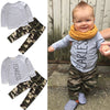 Image of Newborn Kid Baby Boys Girls Tops T-Shirt Camouflage Pants Fearless Long Sleeve Clothes Home Pajamas | Edlpe