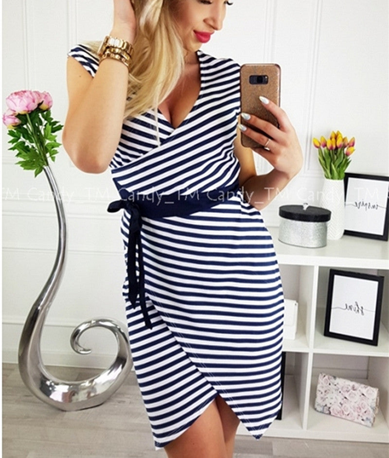 Womens V Neck Striped Irregular Dress Ladies Bodycon Evening Party Bandage Mini Dress | Edlpe