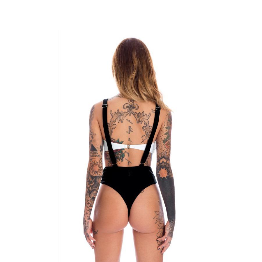Push Up 2Pcs Swimwear Women Patchwork Backless Black And White Stitching Suspender Swimsuit | Edlpe