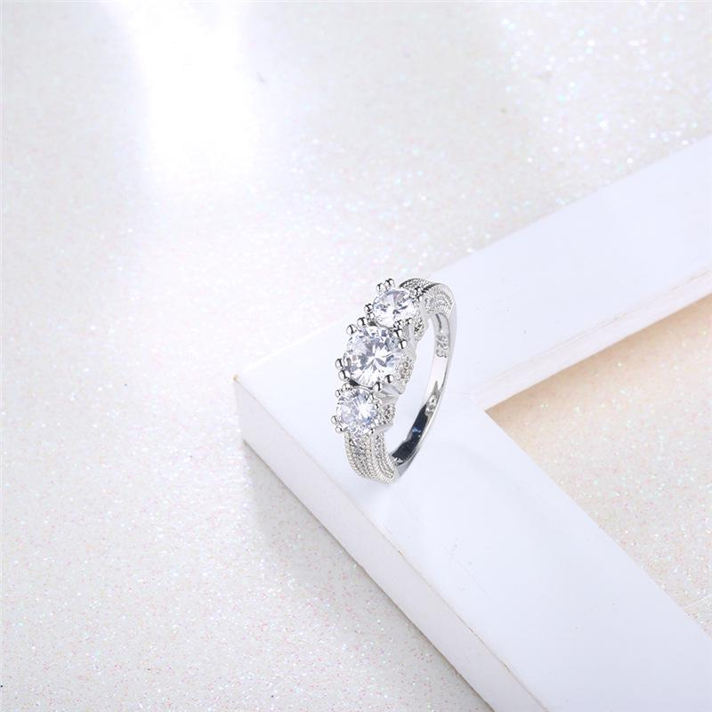 Crystal Four Claws Zircon Snowflakes Platinum Ring Wedding Jewelry For Women | Edlpe