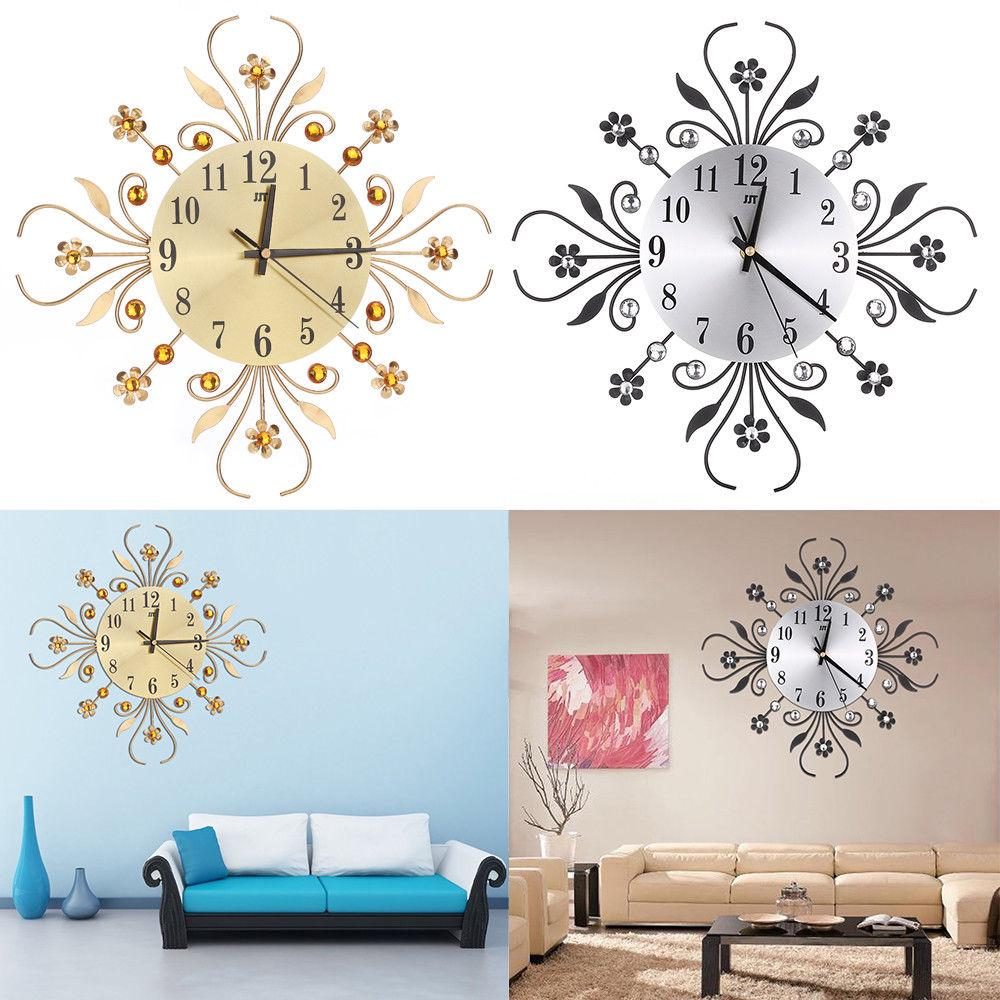 Home Aluminium Dial Flower Diamond Digital Needle Wall Clock Metal Room Decoration | Edlpe
