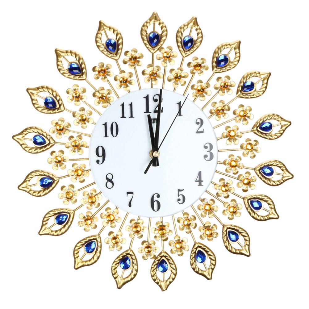Large Feather Flower Diamond Digital Needle Wall Clocks Metal Living Room Home Decor | Edlpe