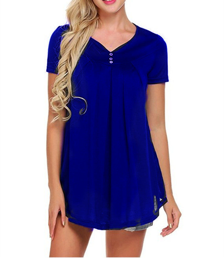 Summer Womens Short Sleeve Loose V Neck Blouse Ruffle Tops Ladies Baggy Tops T Shirt | Edlpe
