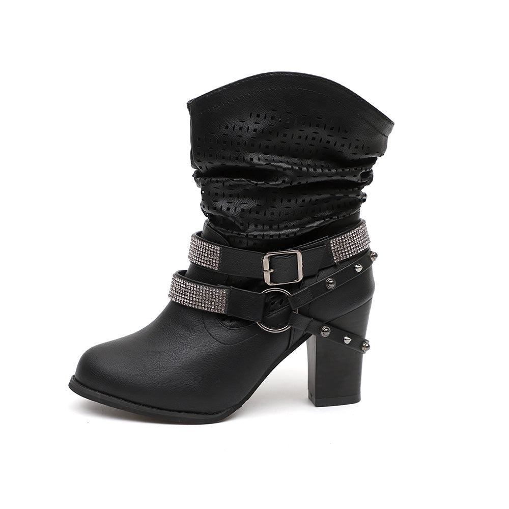 Women Fashion Mid Calf Boots With Circle Straps Design Ankle Boots Rivet Rhinestone Boots | Edlpe