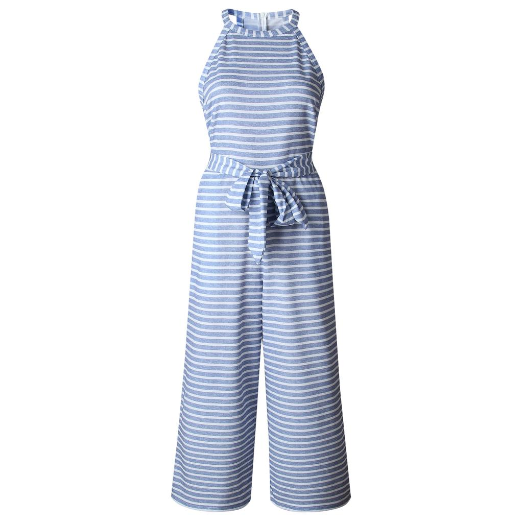 Womens Sleeveless Striped Wide Leg Jumpsuits Summer Belted Playsuits Culottes | Edlpe