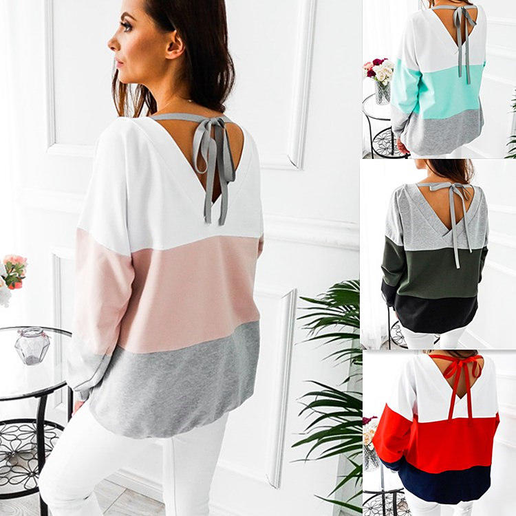 Womens Long Sleeve Striped Top Backless Lace Up Blouse Casual Daily Tops | Edlpe