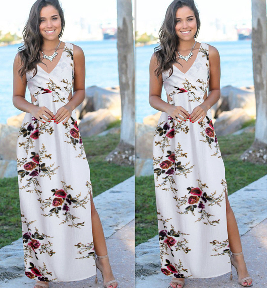Sexy Women V Neck Back Lace Up Maxi Dress Summer Ladies Spit Party Beach Long Dresses | Edlpe