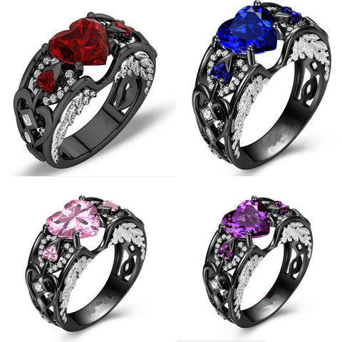 Handmade Angel Wing Ring Heart Shaped Zircon Party Wedding Bands For Women | Edlpe