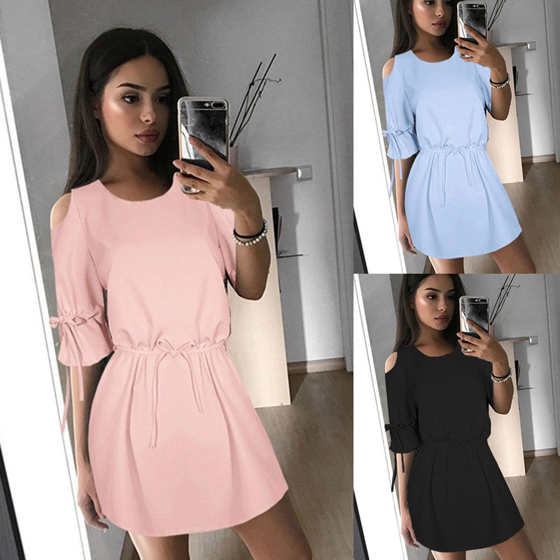 Women Ladies Casual Beach Party Mini Dress Cold Off-Shoulder Clubwear | Edlpe